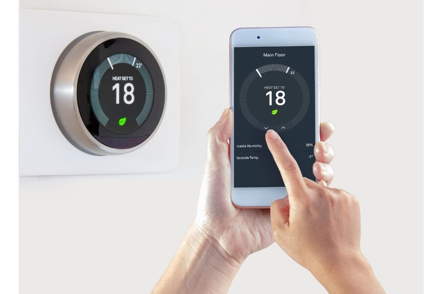 Smart Thermostat With Woman Controlling Temperature on Smartphone